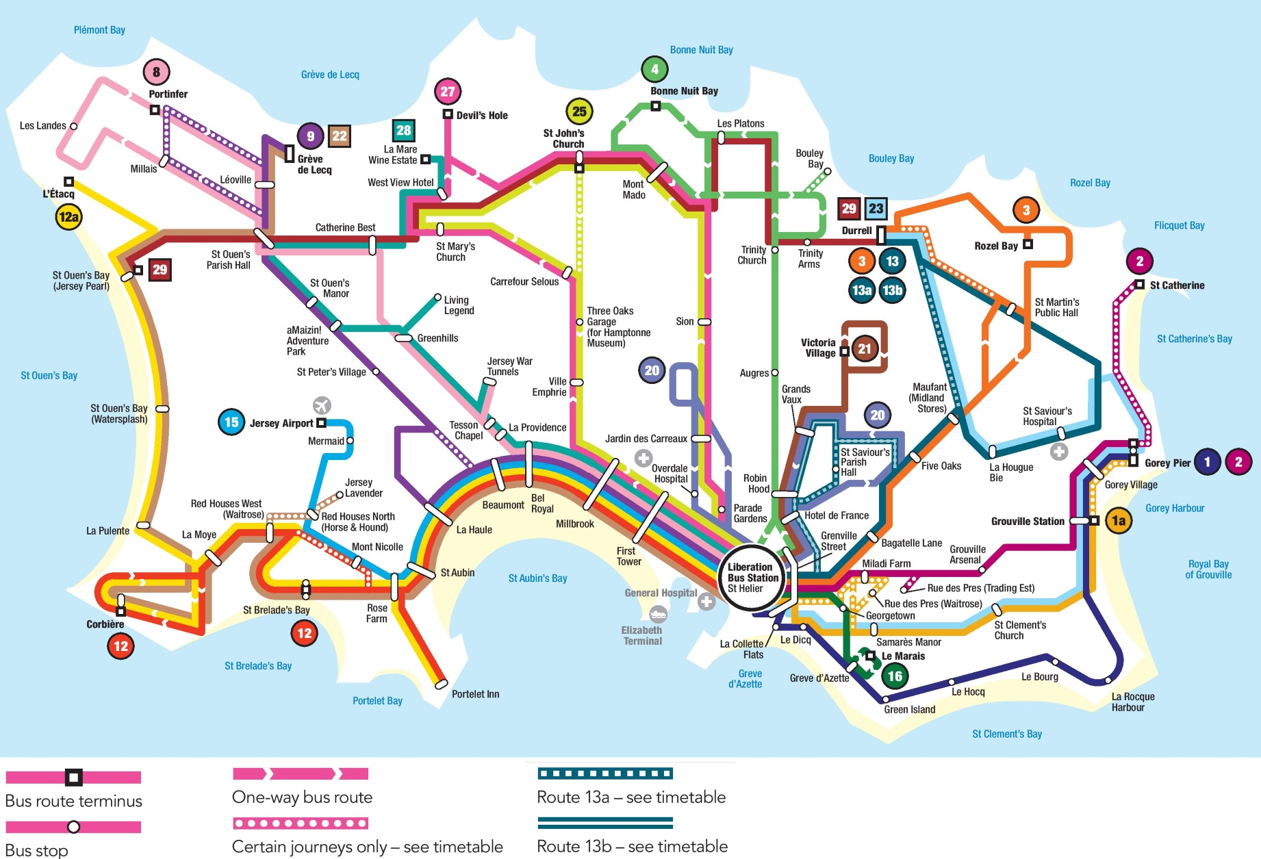 Jersey Bus Map Jersey bus map
