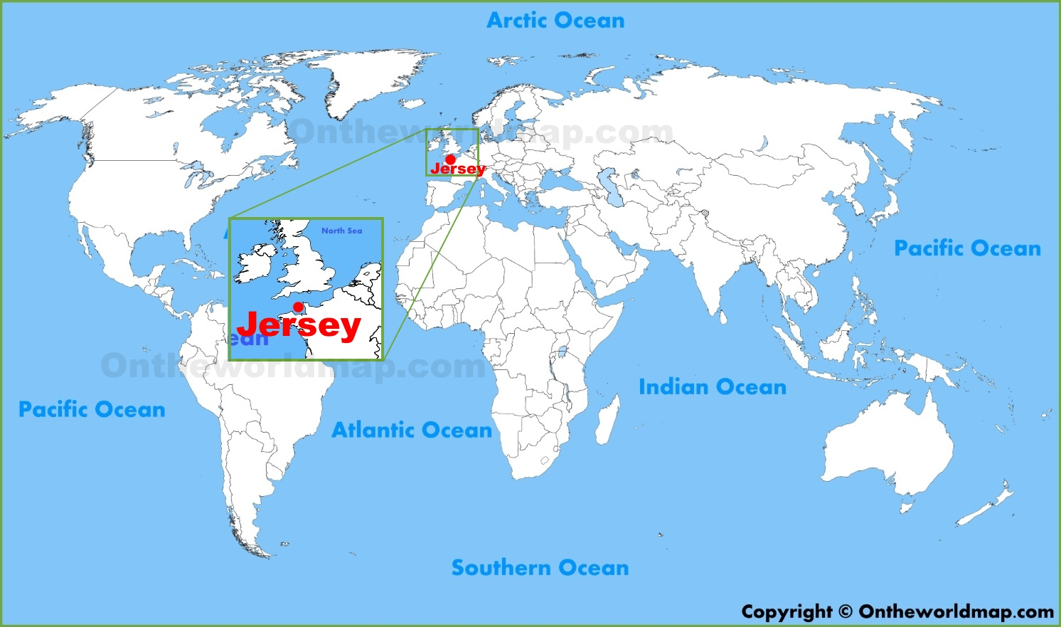Jersey location on the World Map