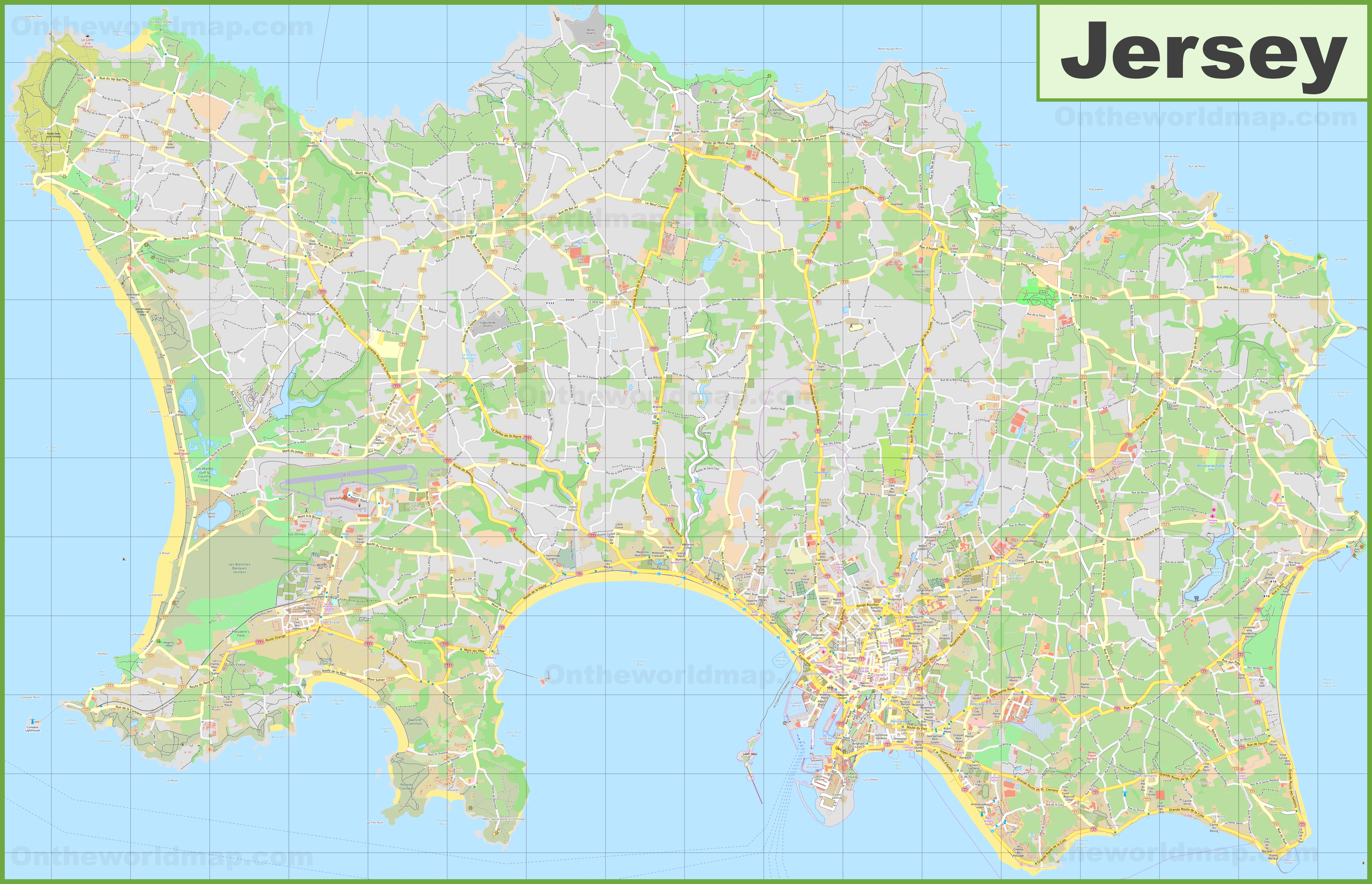 Large detailed map of Jersey