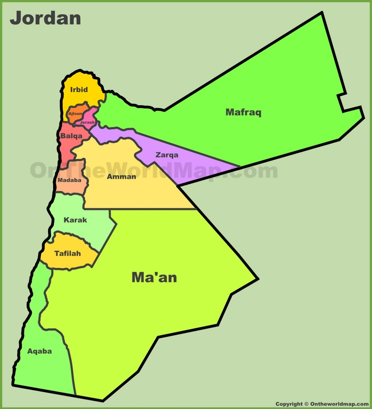 Administrative map of Jordan