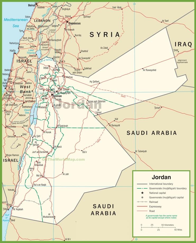 Jordan Political Map