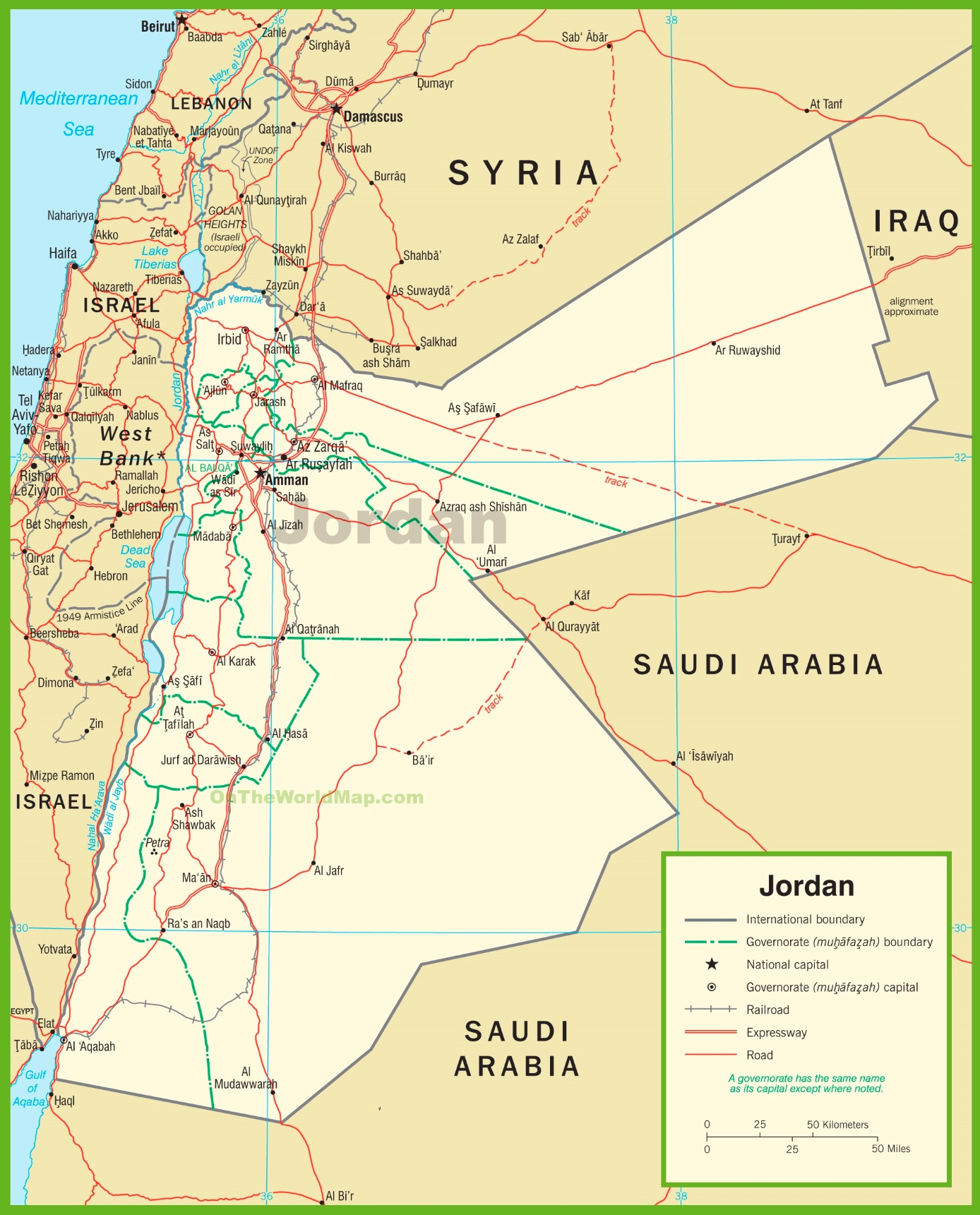 Political Map Of Jordan.Jordan Political Map