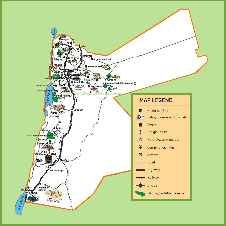 Jordan Tourist Map - Map of jordan