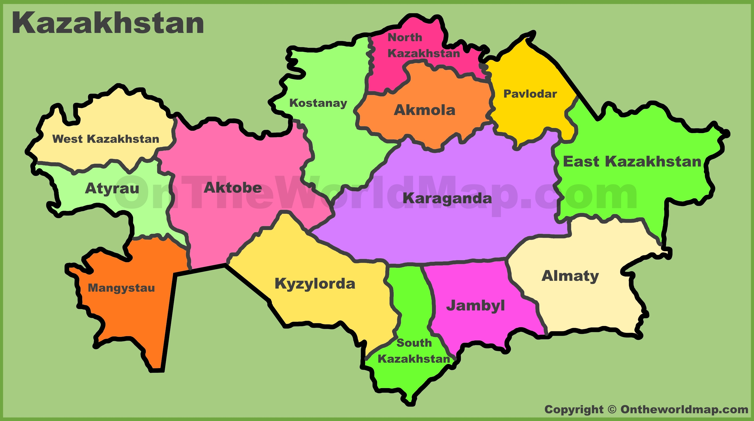 Administrative map of Kazakhstan
