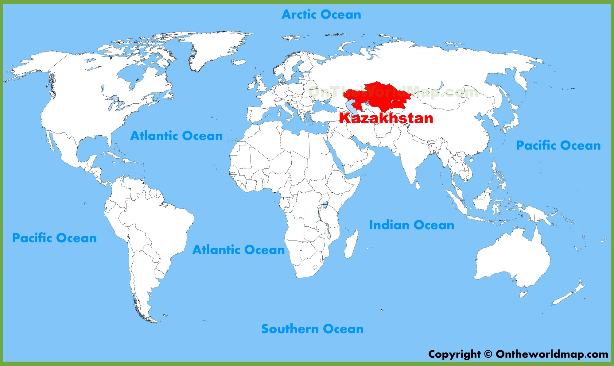 Kazakhstan location on the World Map