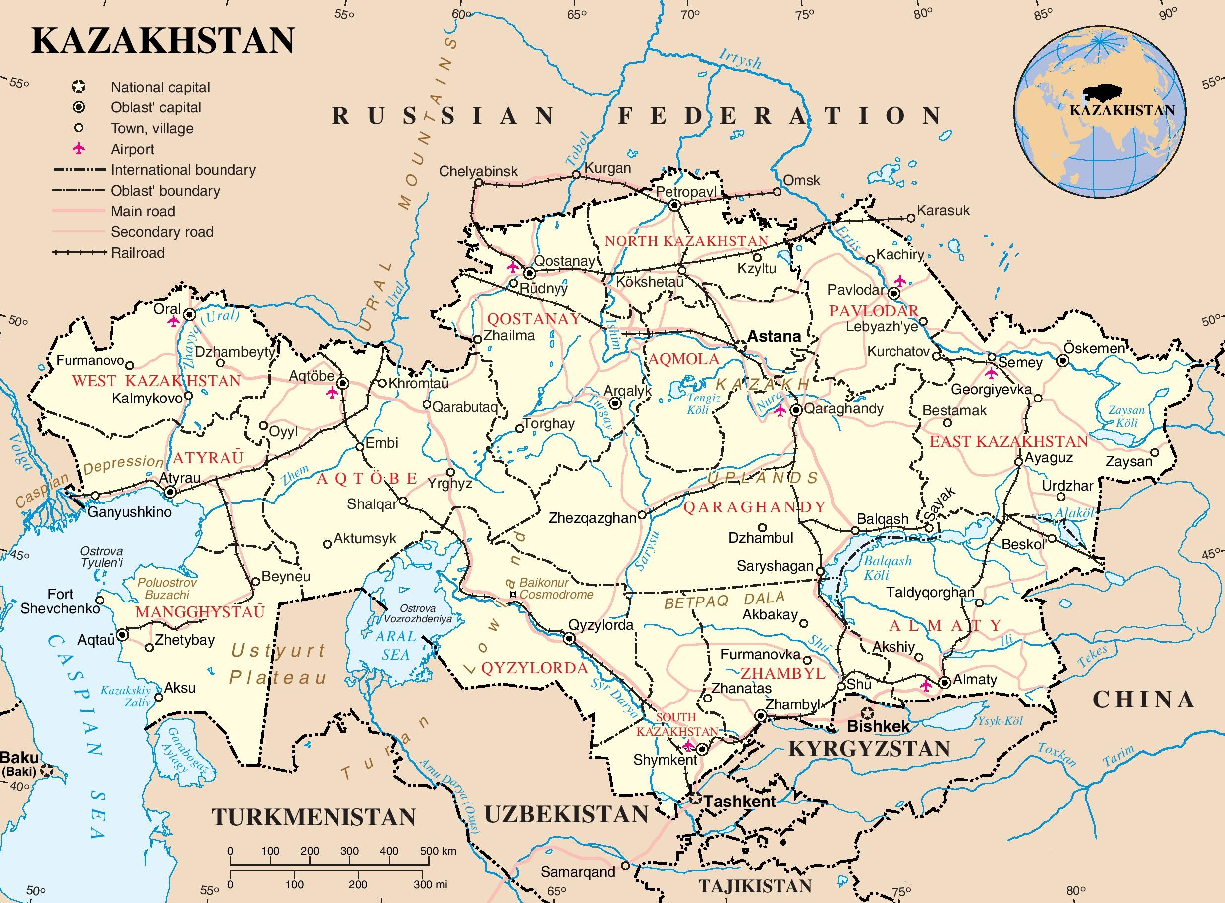 Kazakhstan Political Map.Kazakhstan Political Map