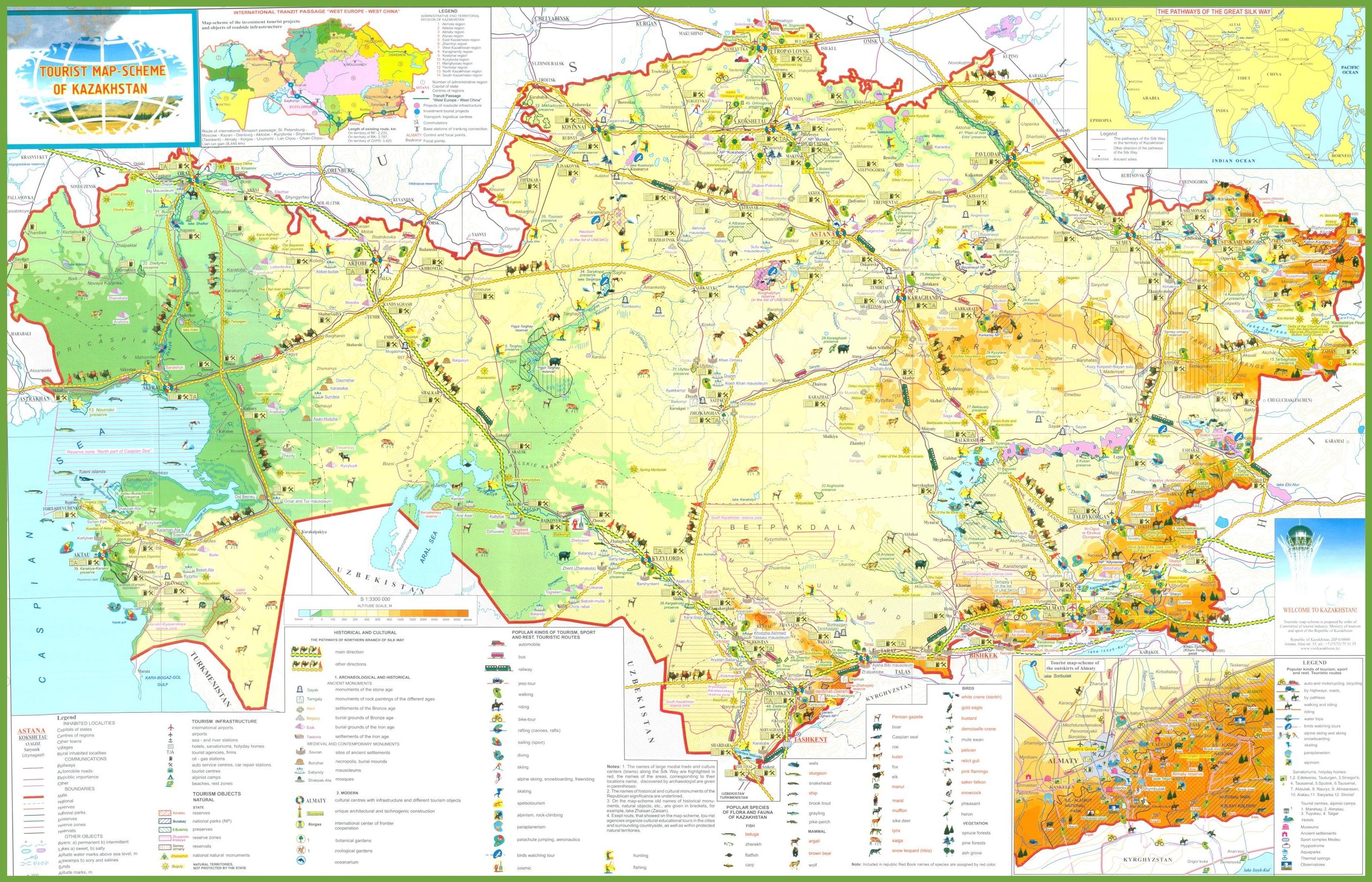 Kazakhstan tourist map