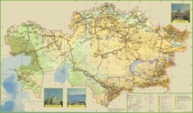 Large detailed road map of Kazakhstan