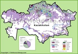 Map of ethnic groups in Kazakhstan