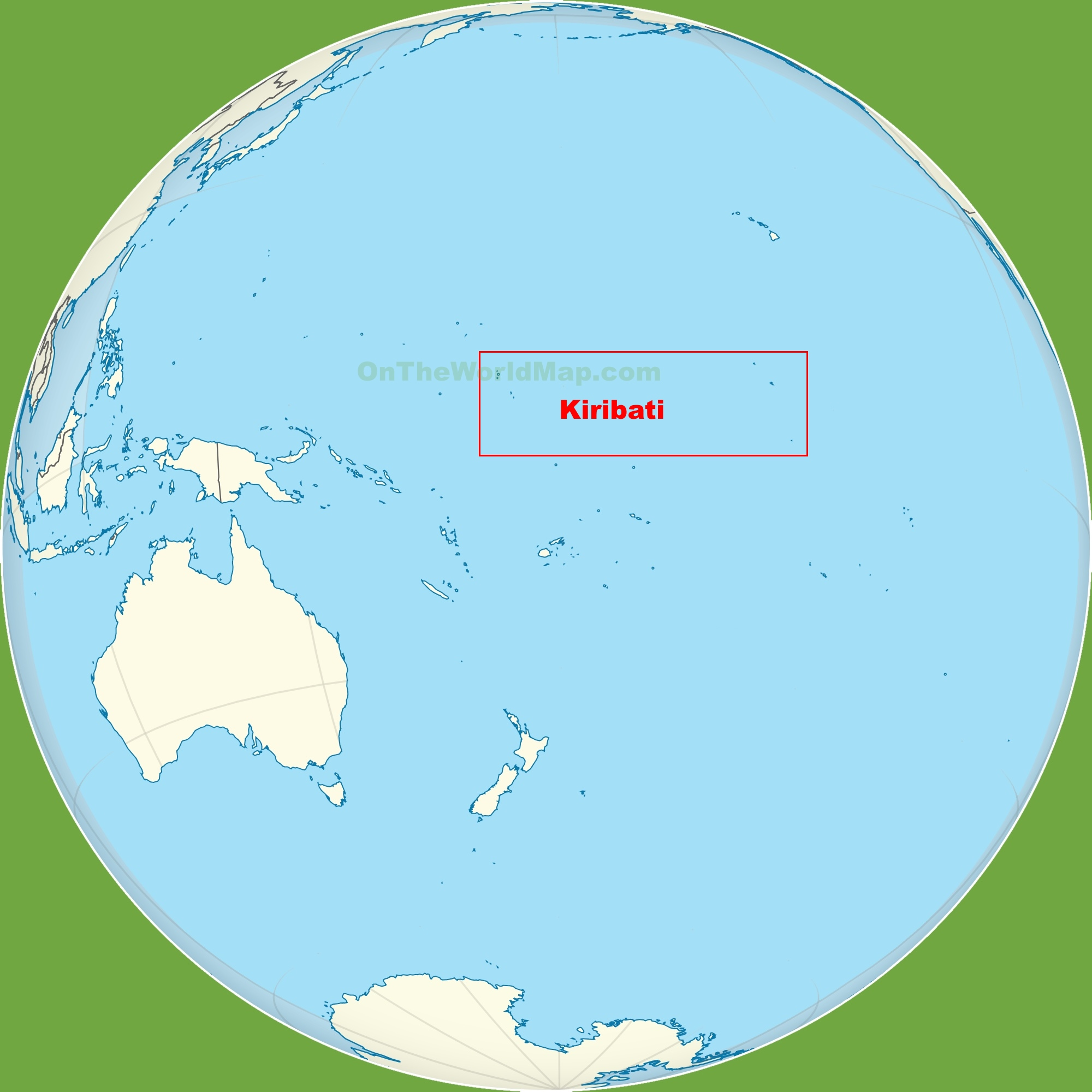 Kiribati location on the Pacific Ocean map