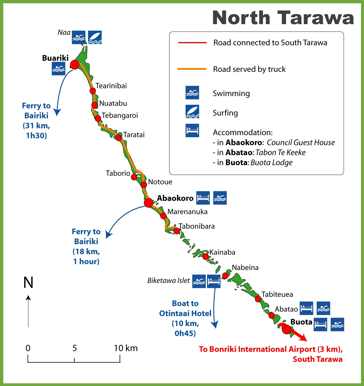 North Tarawa Map - tarawa atoll map