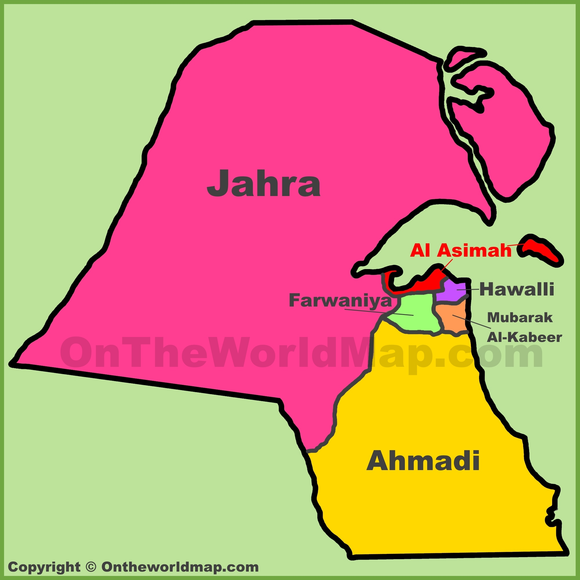 Administrative map of Kuwait