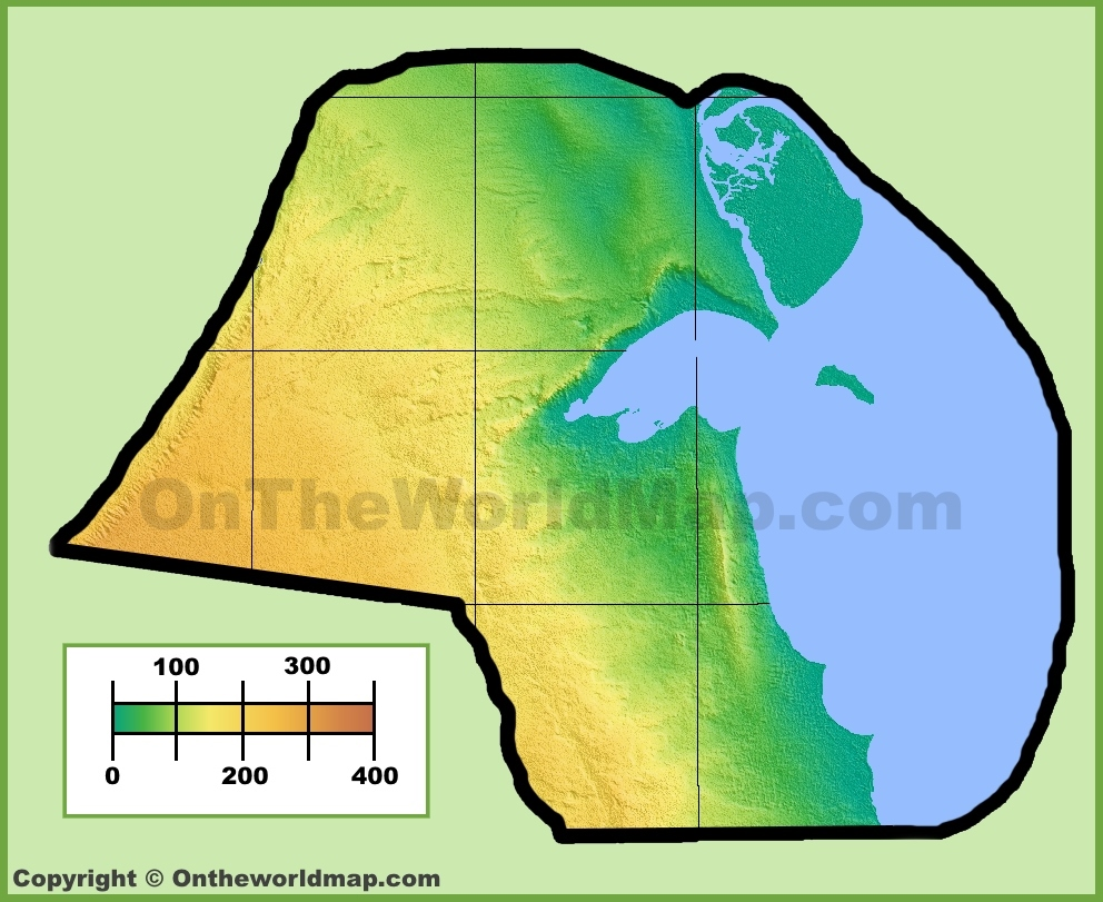 Kuwait physical map