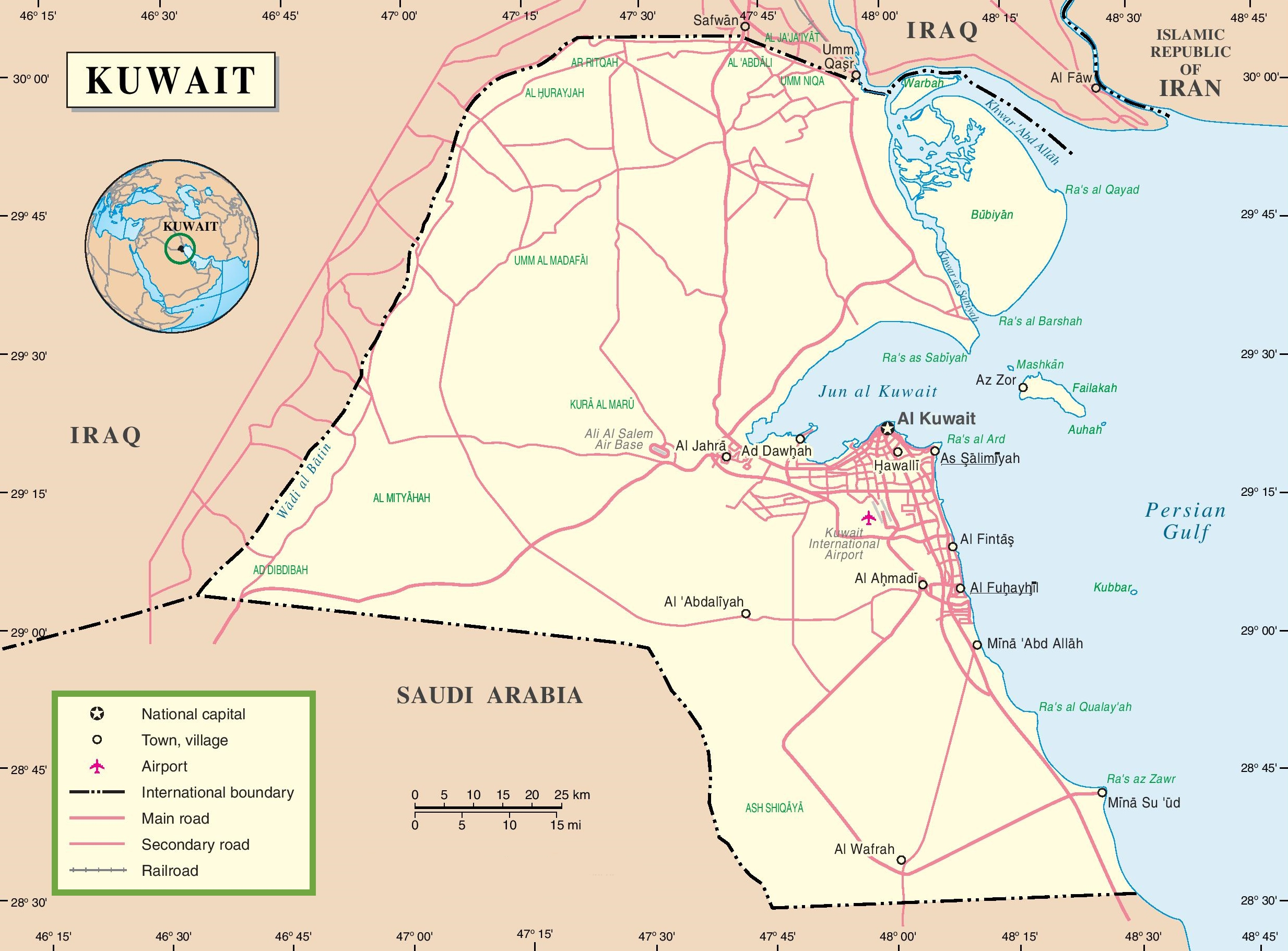 Kuwait Road Map - Kuwait map