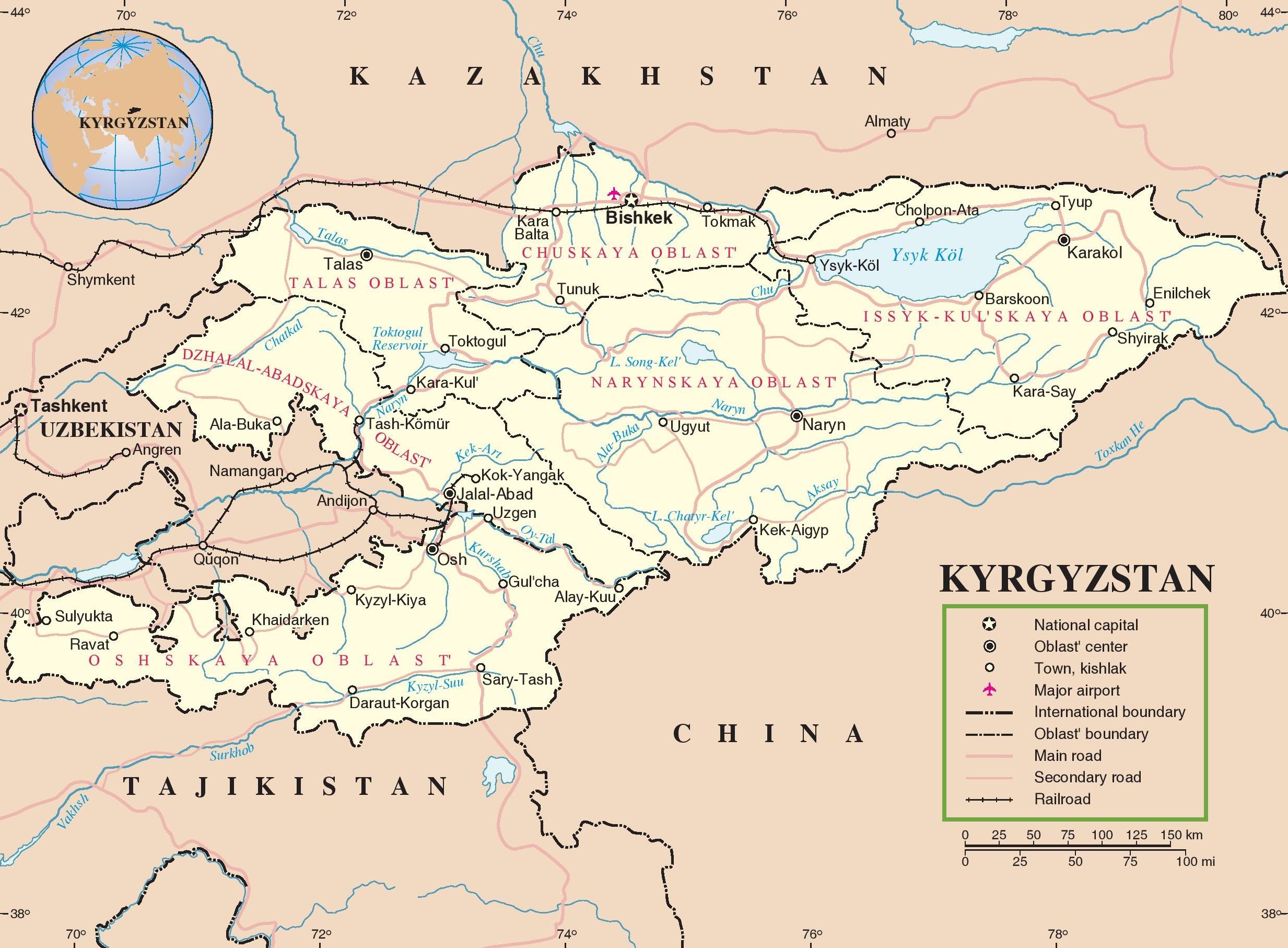 Kyrgyzstan Maps Maps of Kyrgyzstan