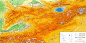 Large detailed physical map of Kyrgyzstan