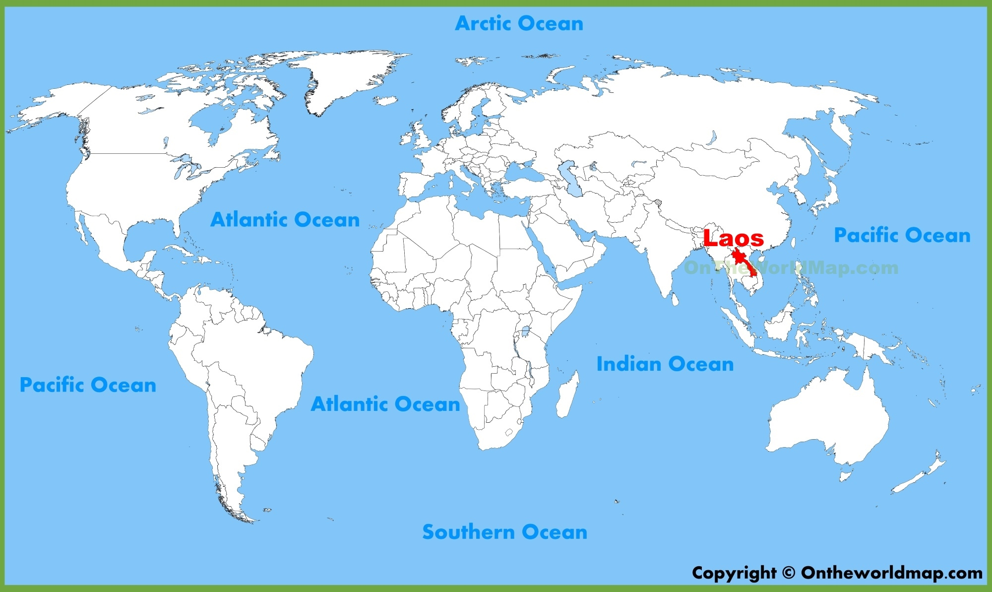 Laos location on the World Map