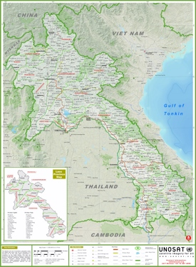 Large detailed map of Laos with cities and towns