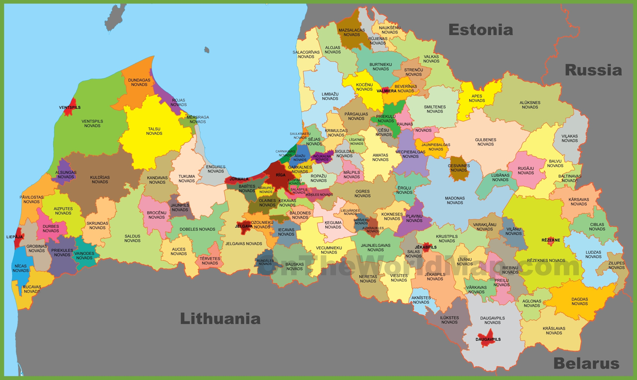 Map Of Latvia Administrative map of Latvia