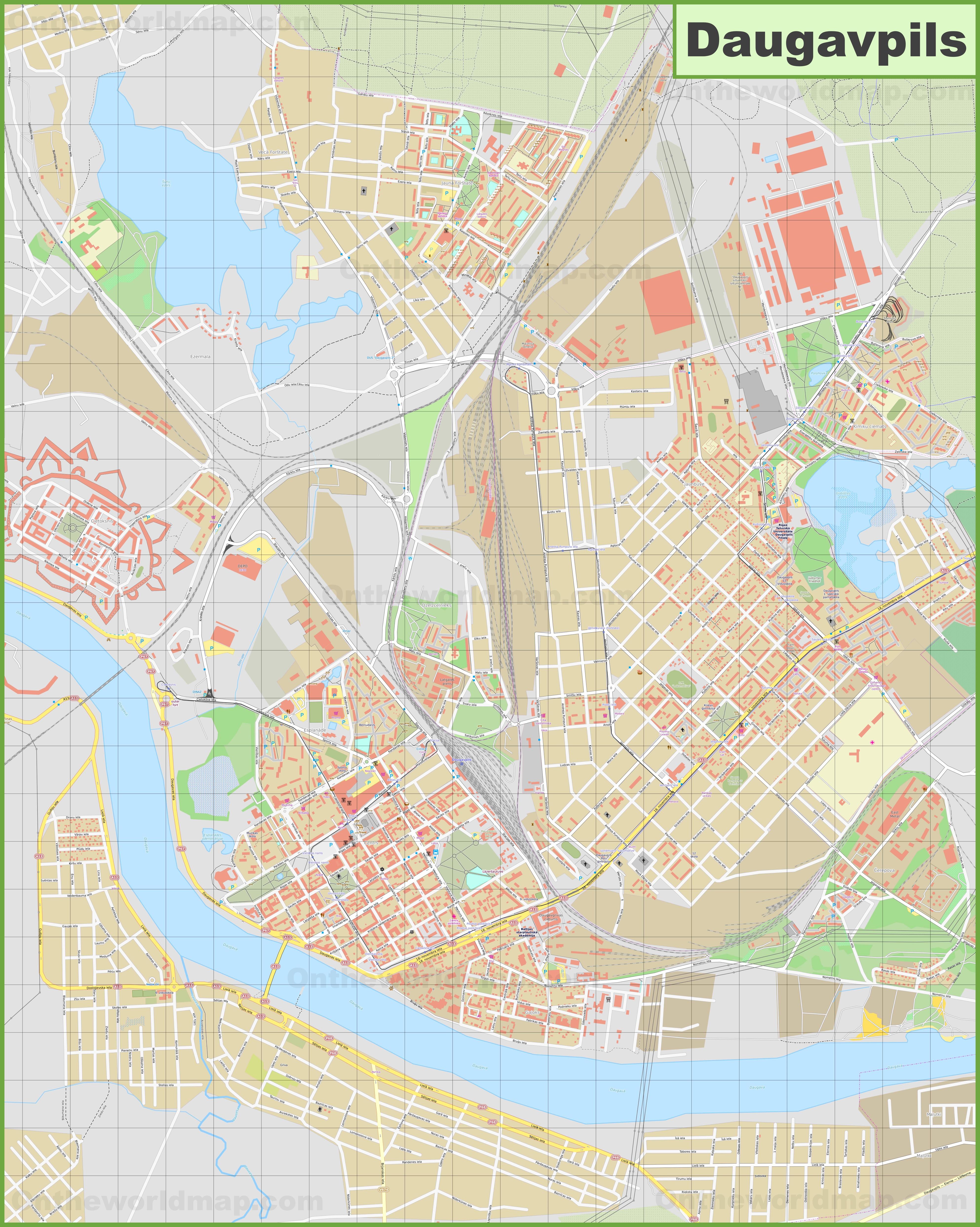 Large detailed map of Daugavpils