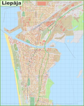 Large detailed map of Liepāja
