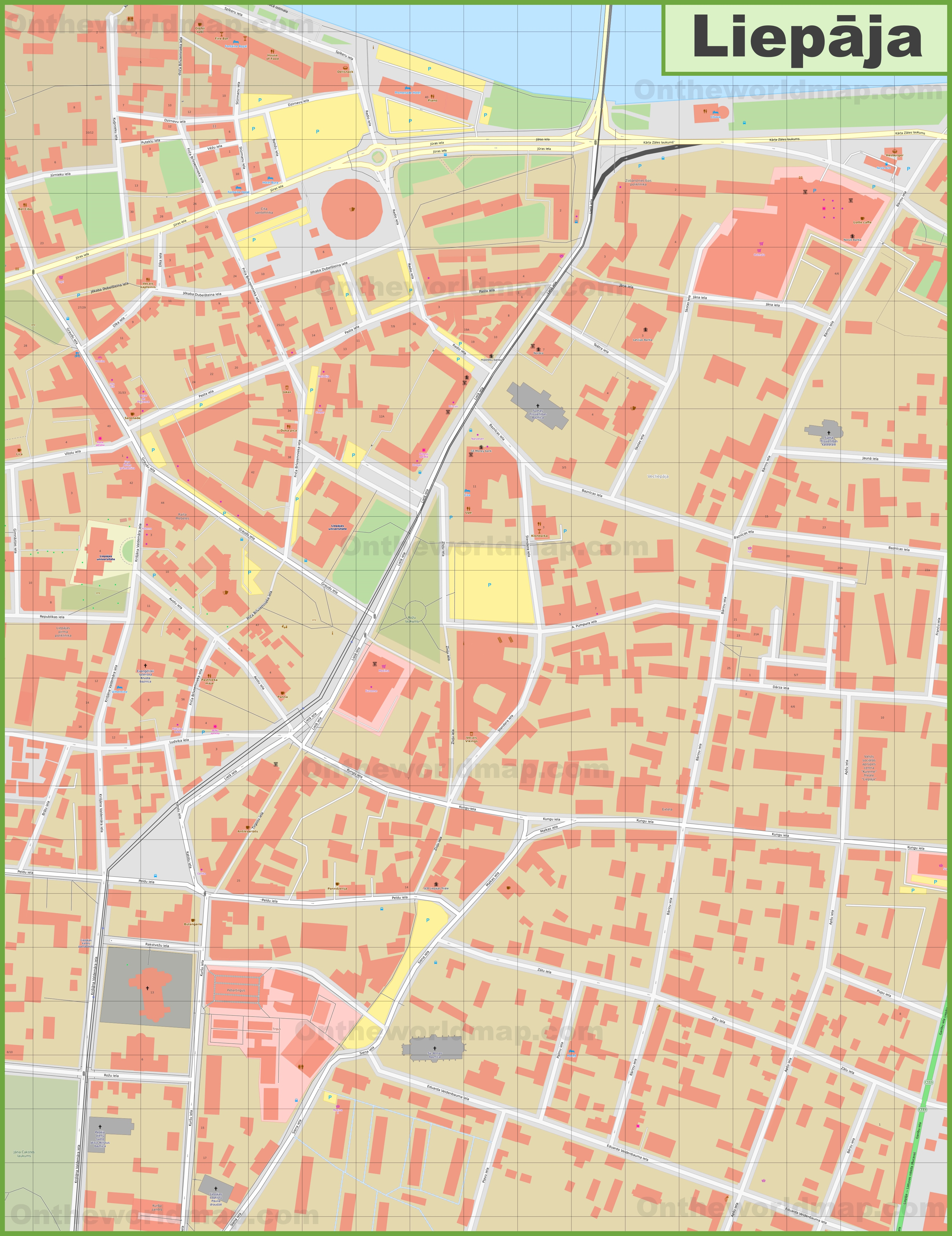 Liepāja city center map