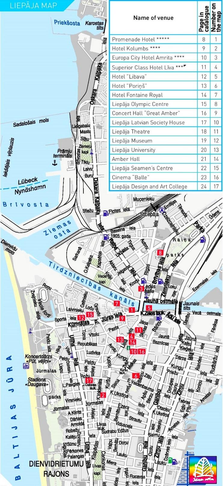 Liepāja tourist map