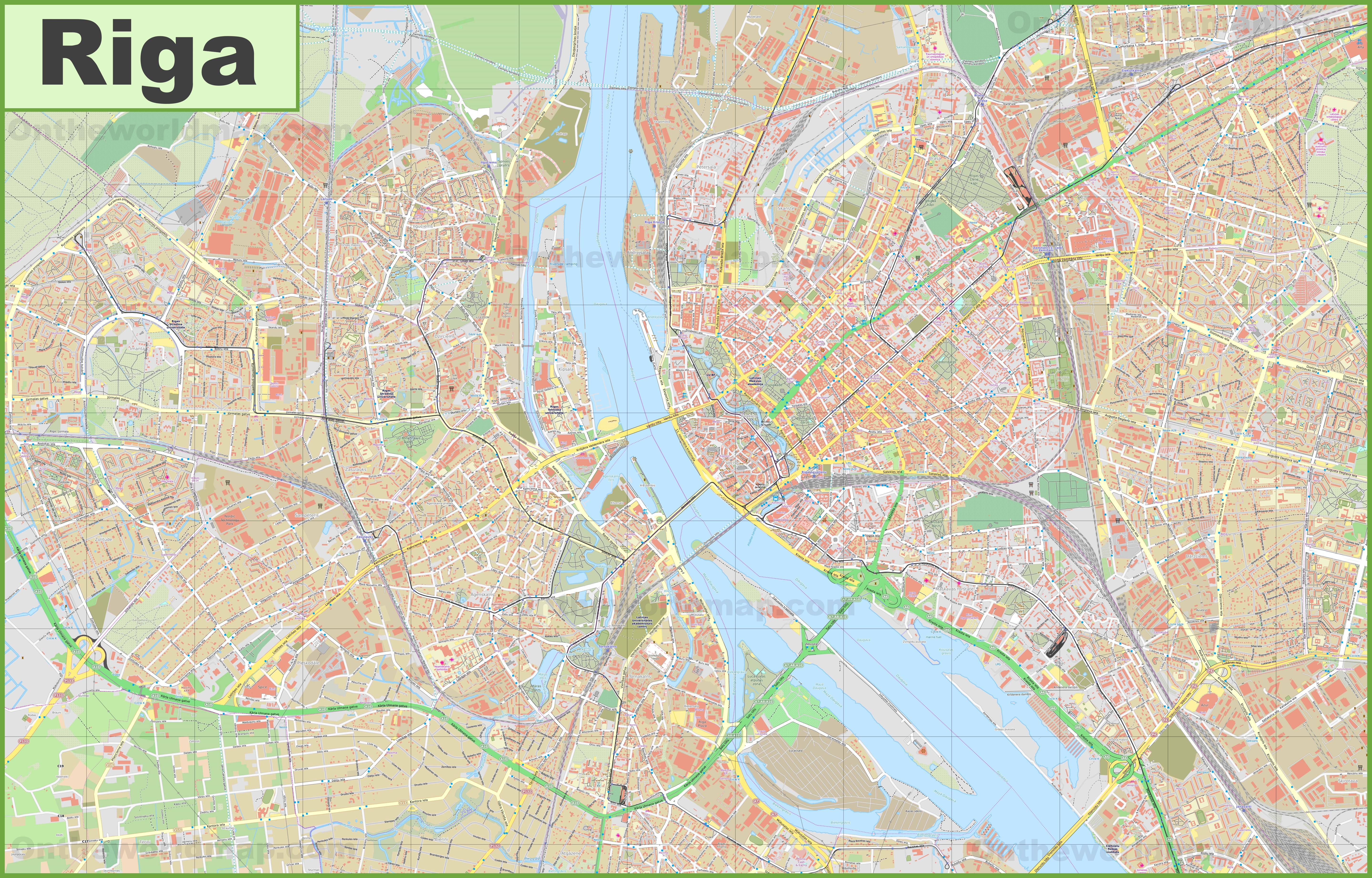 Large detailed map of Riga