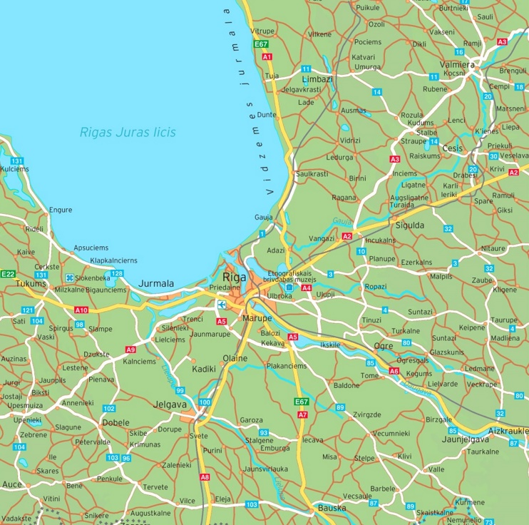 Riga area road map