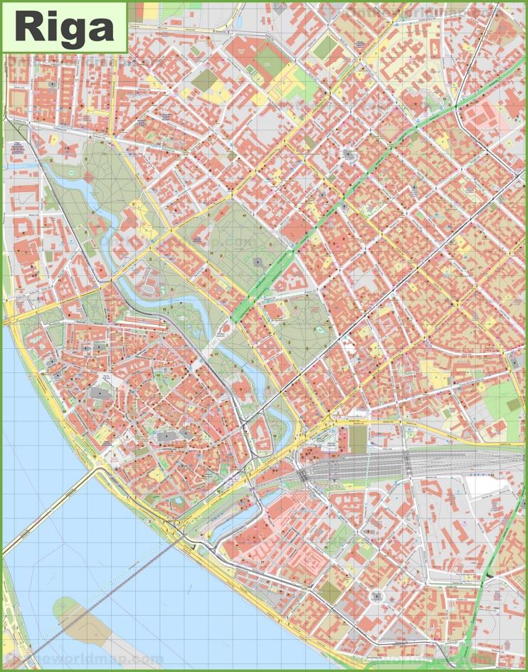 Riga city center map