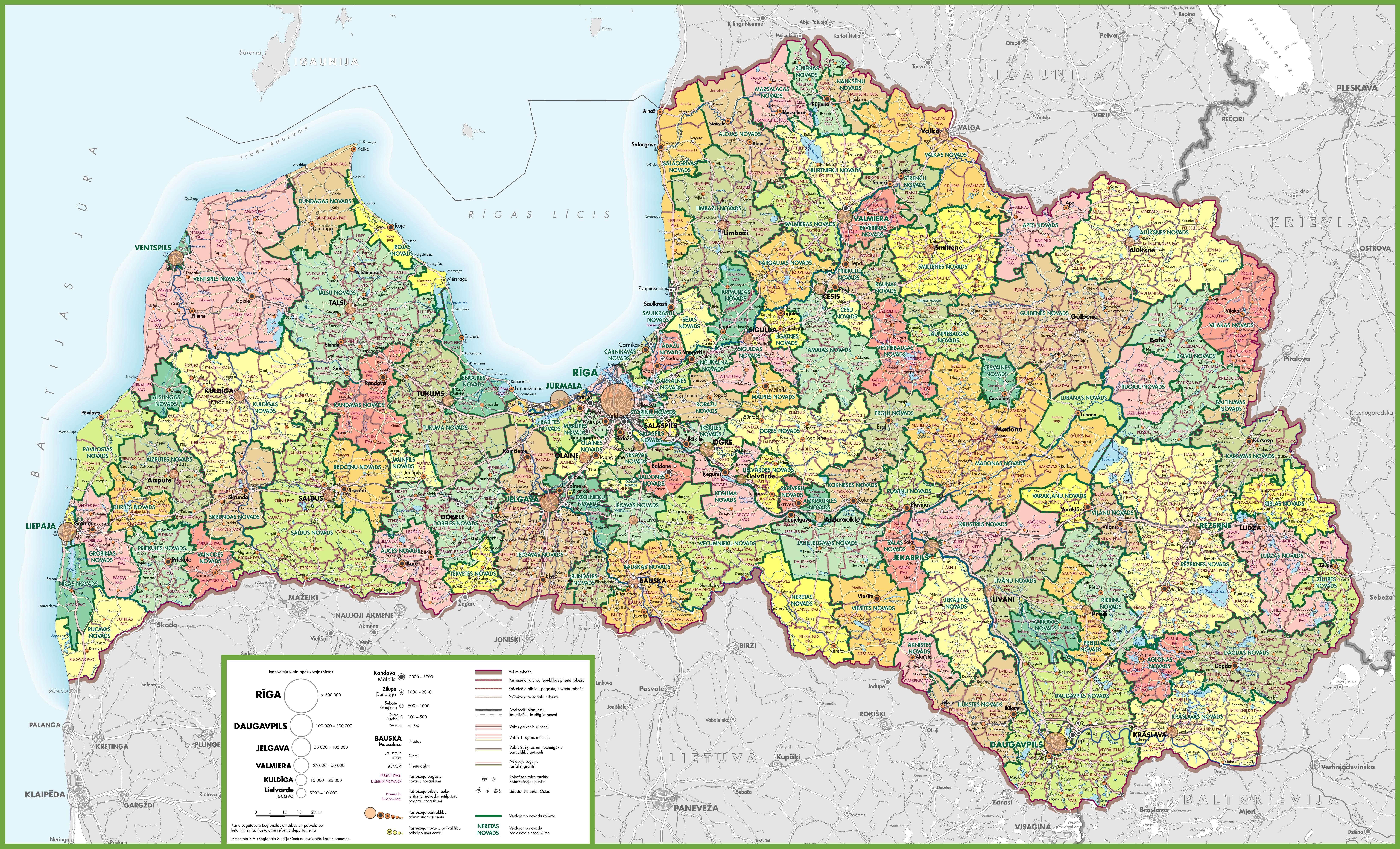 Large detailed map of Latvia