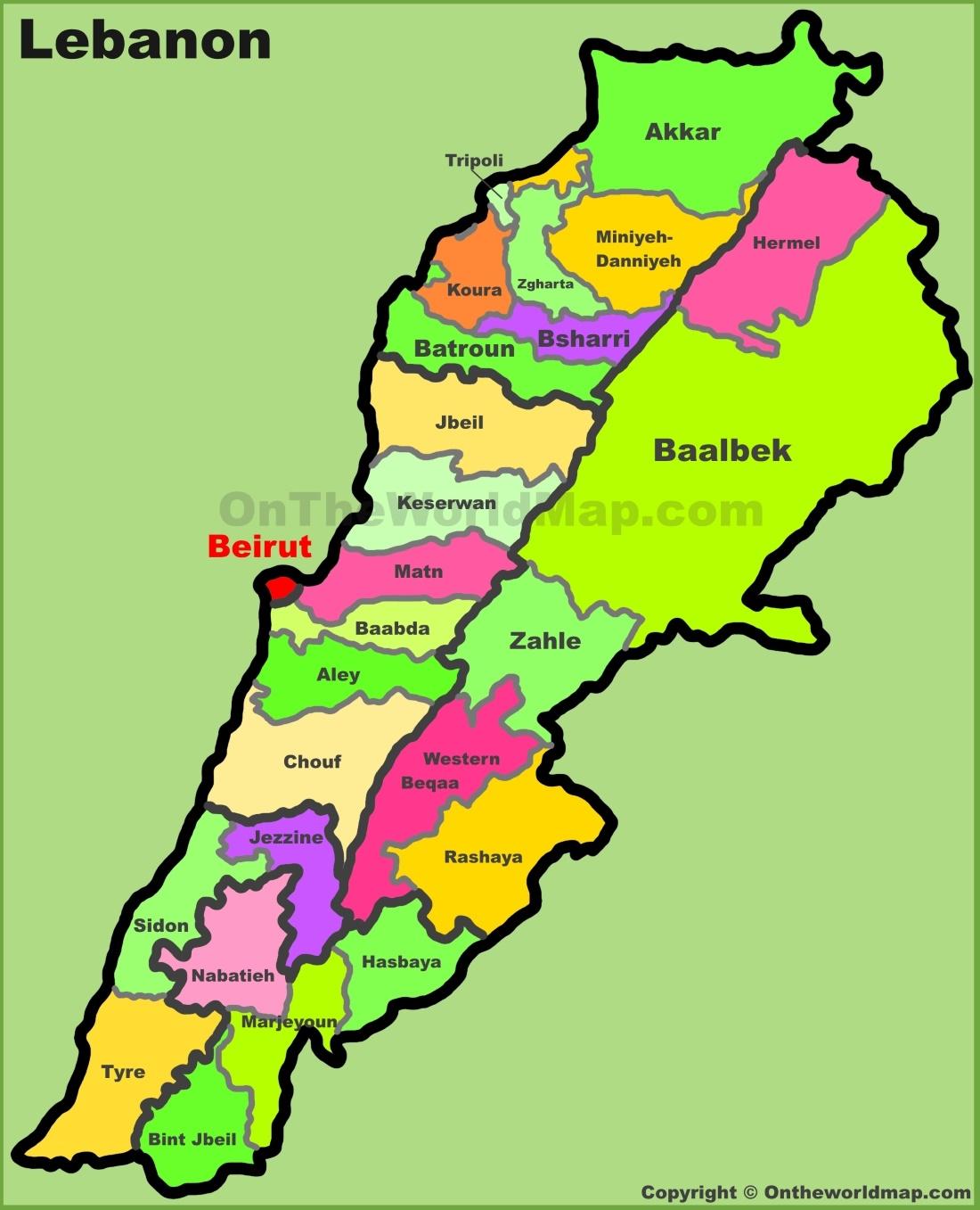 Map Of Lebanon Administrative map of Lebanon Map Of Lebanon