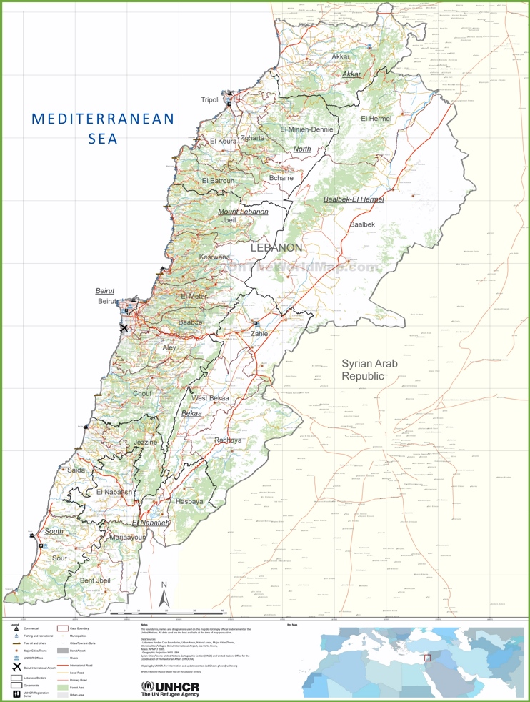 Large detailed map of Lebanon
