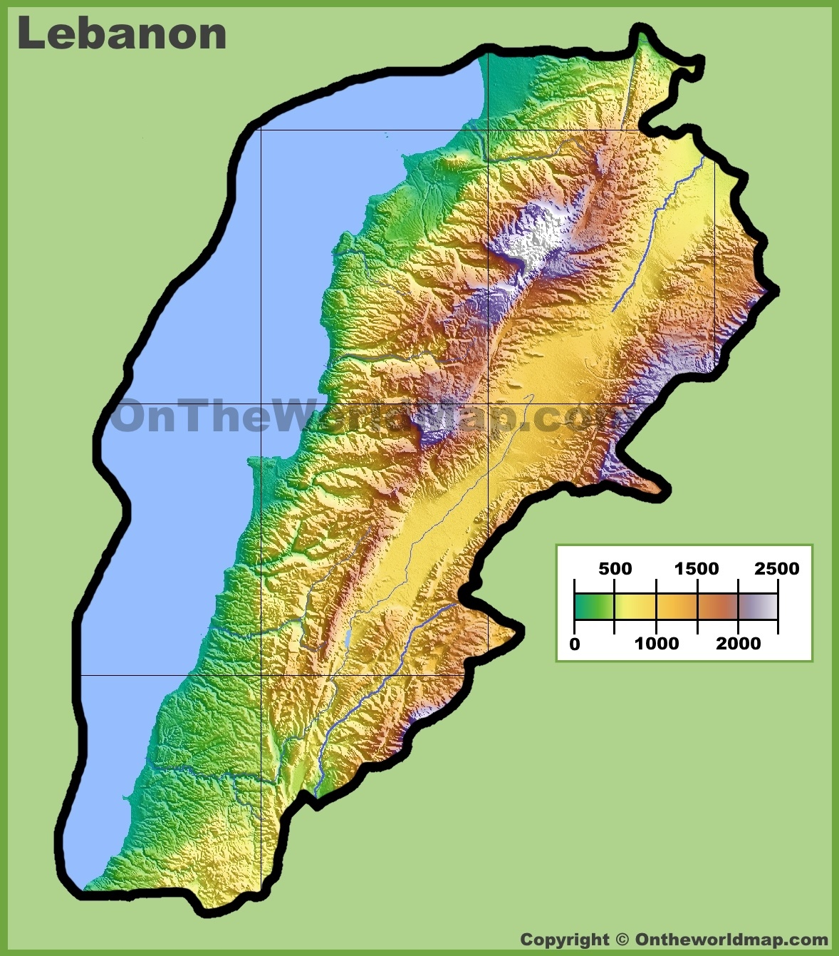 Lebanon Physical Map - Lebanon map