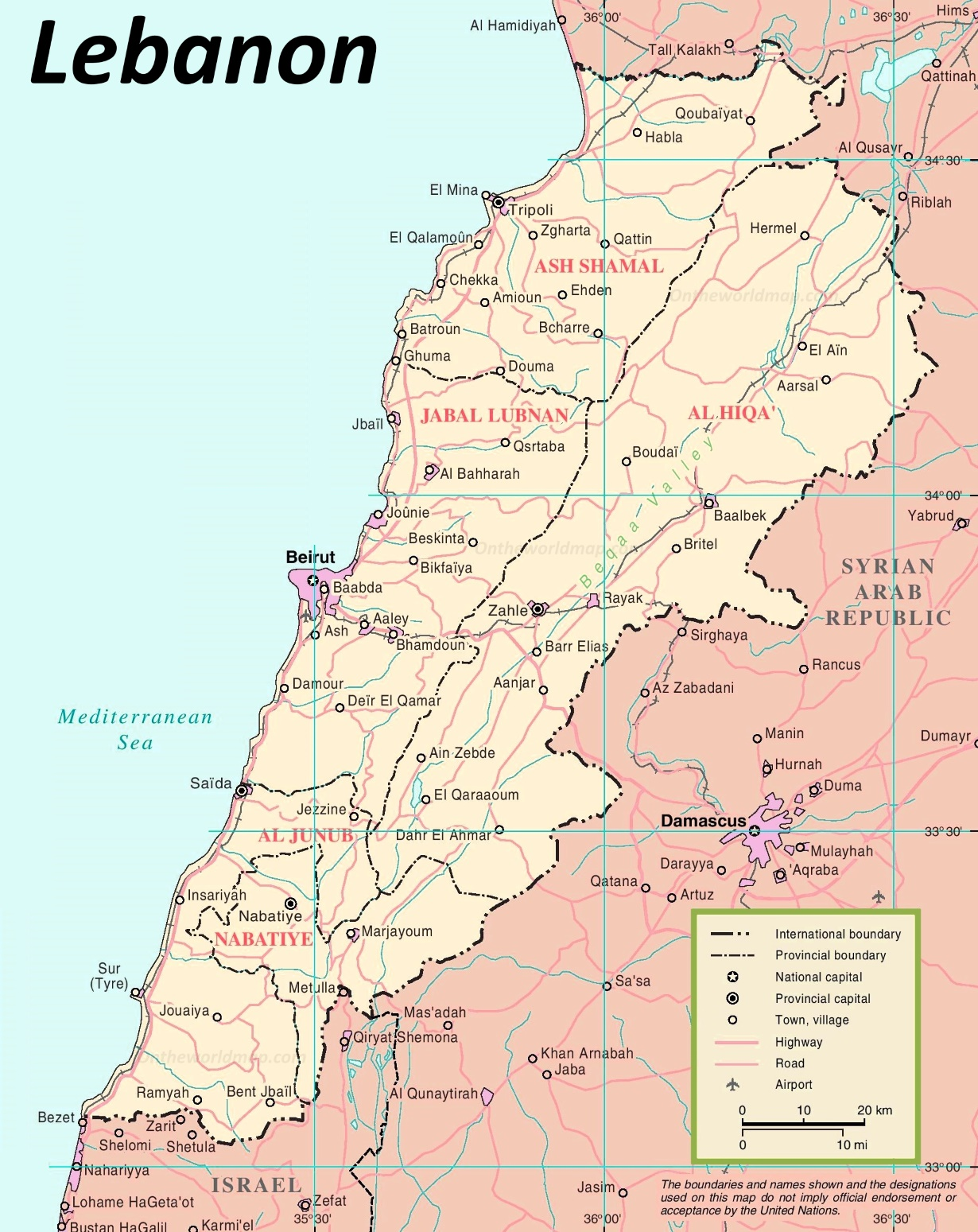Lebanon Political Map - Lebanon map