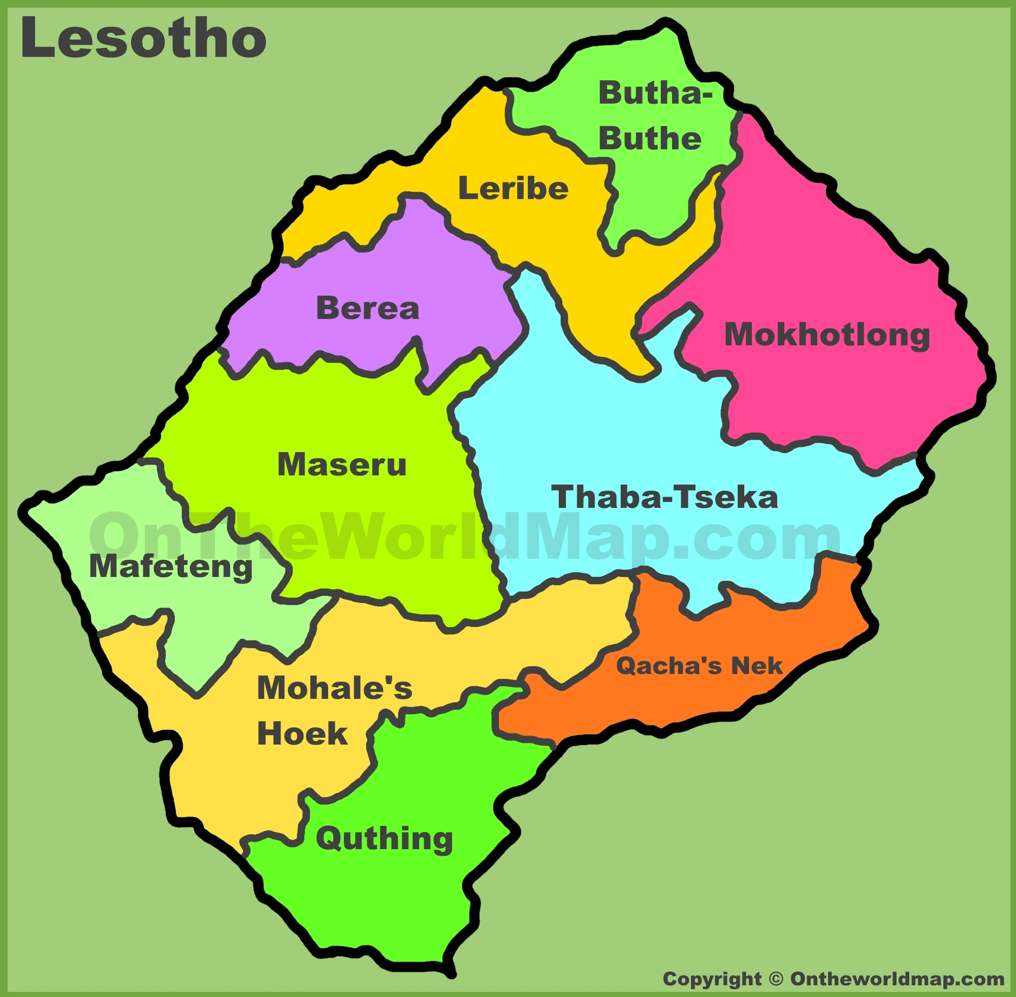 Administrative Divisions Map Of Lesotho - Lesotho maps with countries