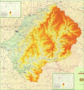 Large detailed physical map of Lesotho