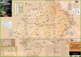 Large detailed tourist map of Lesotho