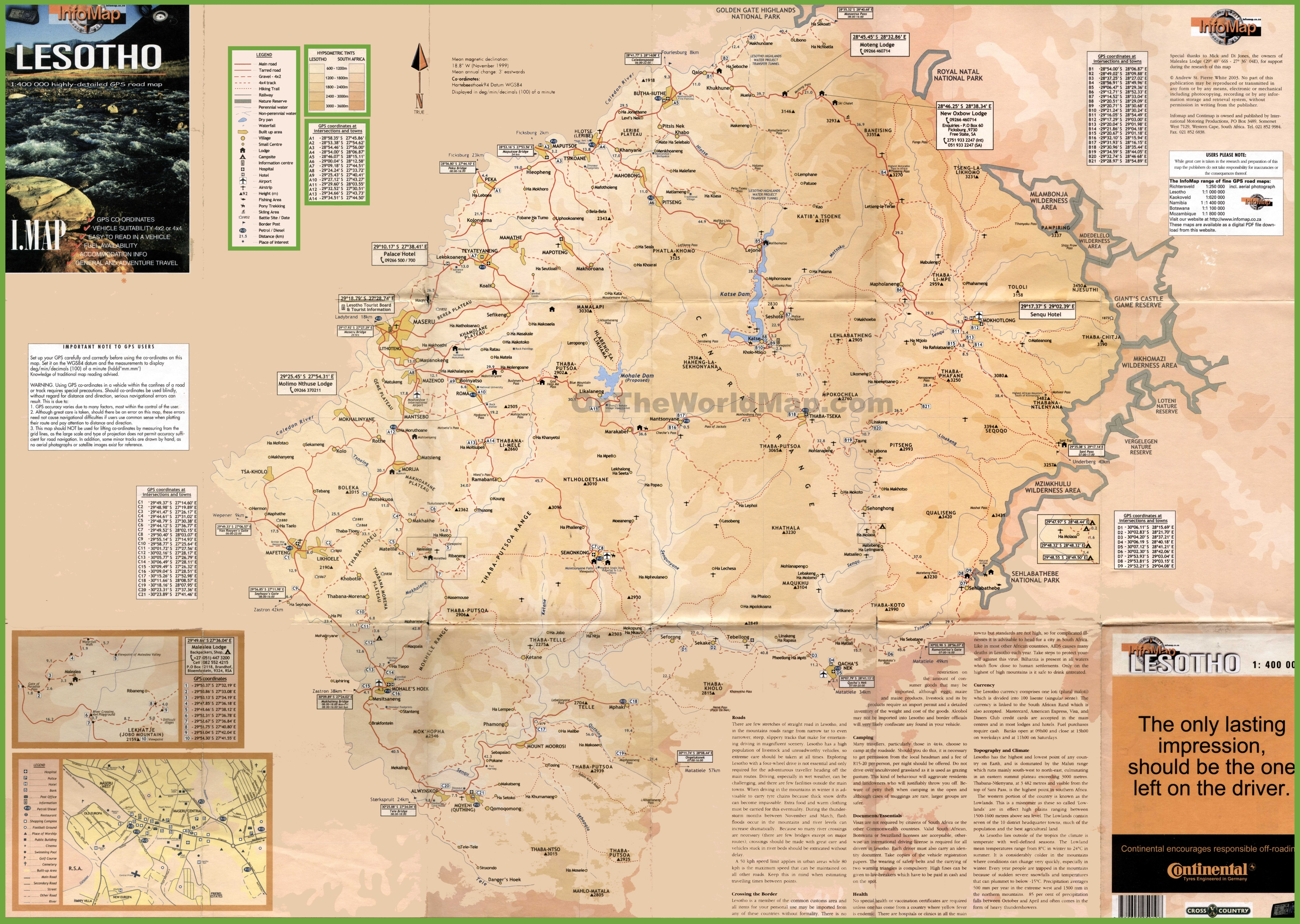 Large Detailed Tourist Map Of Lesotho - Lesotho maps with countries