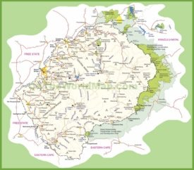 Travel map of Lesotho