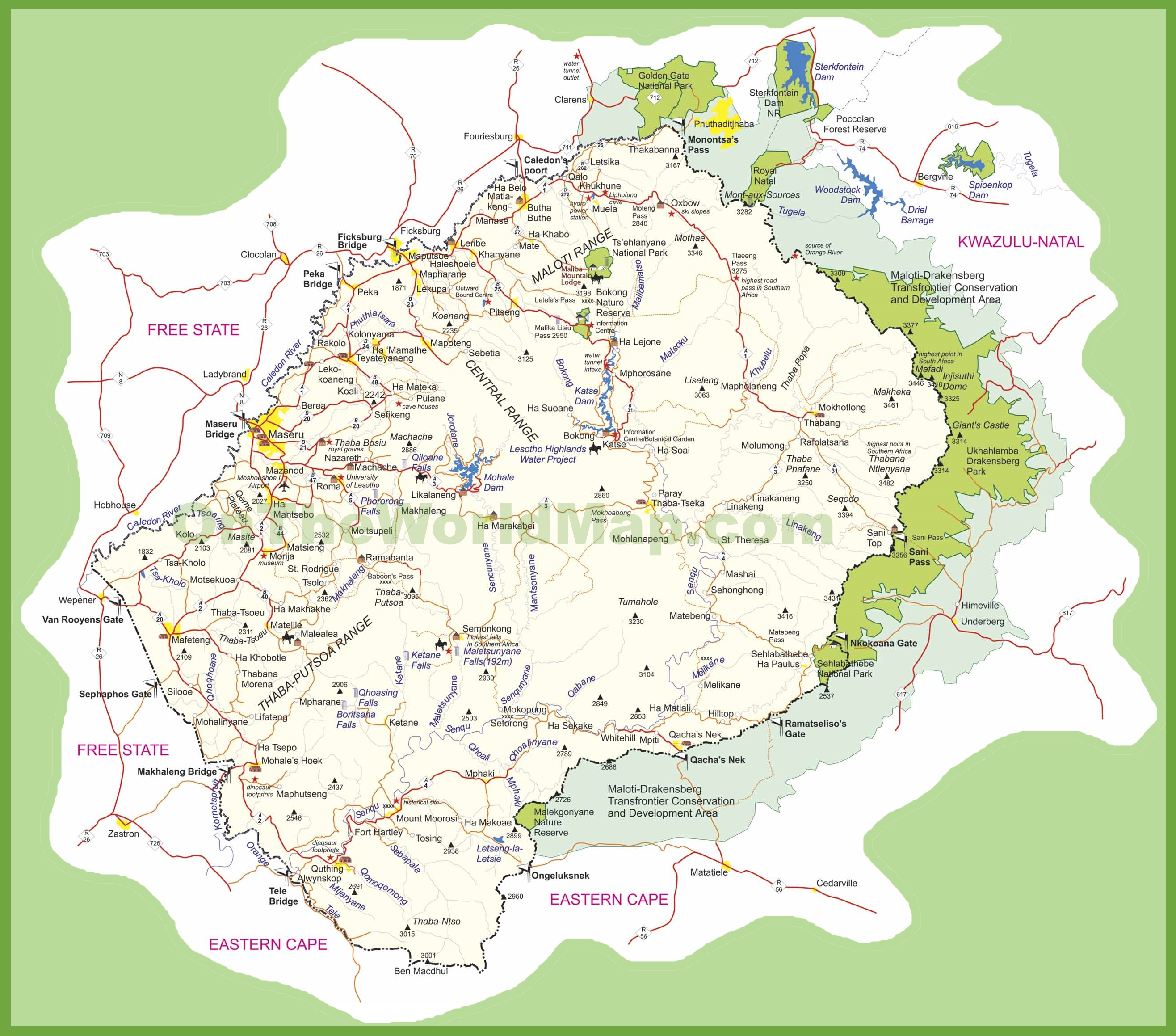 Travel Map Of Lesotho - Lesotho maps with countries