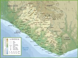 Large physical map of Liberia