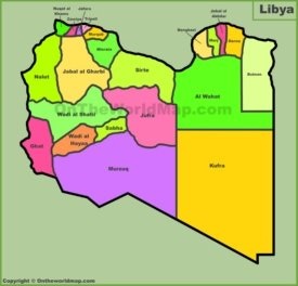 Administrative divisions map of Libya