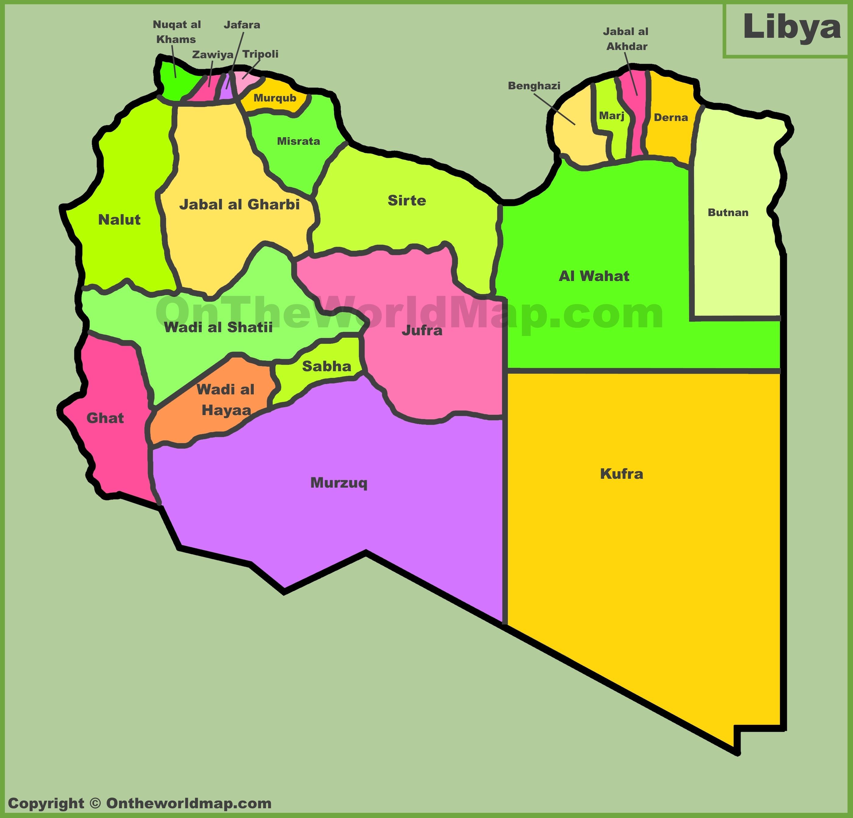 Map Of Libya Administrative divisions map of Libya Map Of Libya