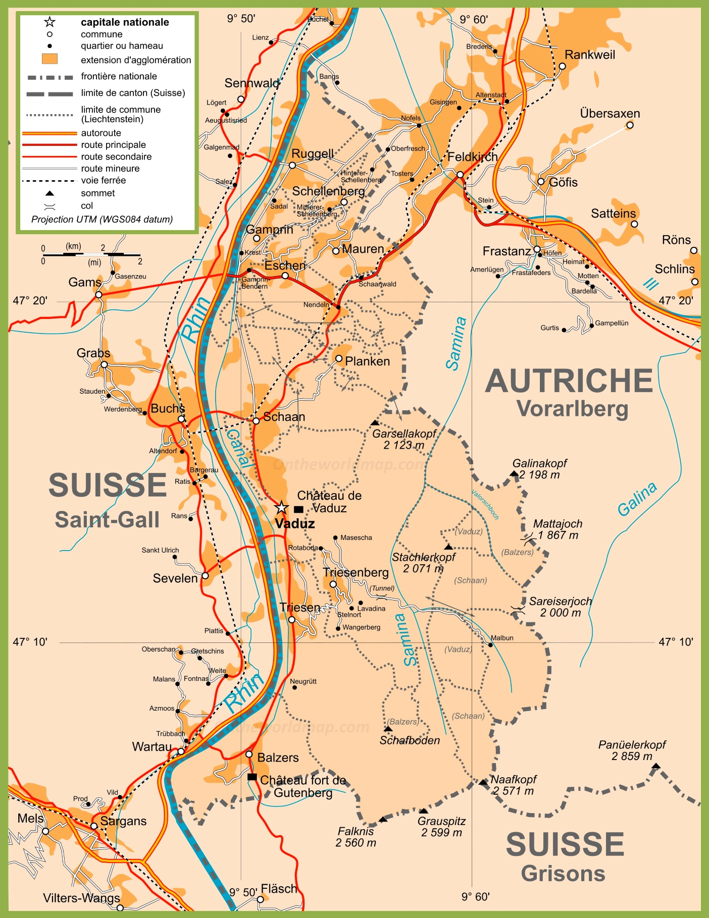 Large detailed map of Liechtenstein