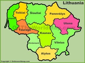 Administrative divisions map of Lithuania