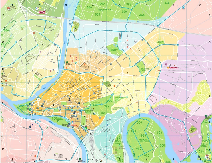 Kaunas area tourist map