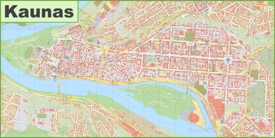 Kaunas city center map
