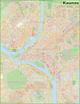 Large detailed map of Kaunas