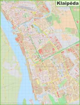 Large detailed map of Klaipėda
